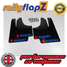 SWIFT 2ND GEN (2008-2010) BLACK MUDFLAPS (Logo Red & Blue)